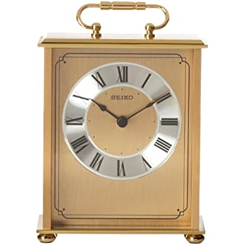 Seiko Desk And Table Carriage Clock Gold Tone Solid Brass Base And Top