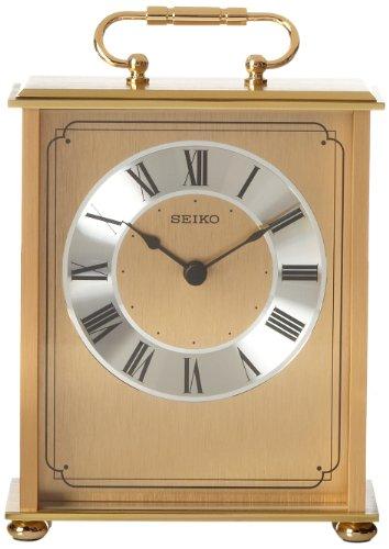 Seiko Desk and Table Carriage Clock Gold-Tone Solid Brass Base and Top (Seiko Brass Clock)