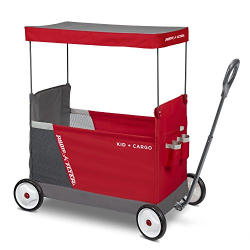 Radio Flyer Kid & Cargo with Canopy, Folding Wagon with 2 Versatile Seats, Red ()