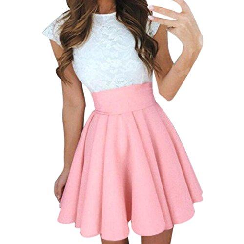 BZLine? Jupe t Femmes Taille Haute lgante Longue Classique Chic Pliss Stretch Bureau Casual Cocktail Party Skirt pink