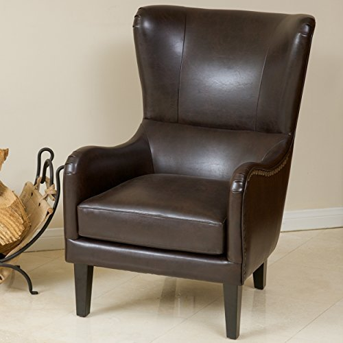 Salerno Wingback Brown Leather Club Chair (Leather Wingback Chairs)
