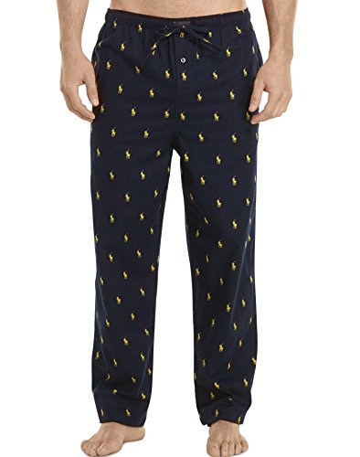 Polo Ralph Lauren Men's Flannel PJ Pants Cruise Navy/Polo Yellow All Over Pony Player Small