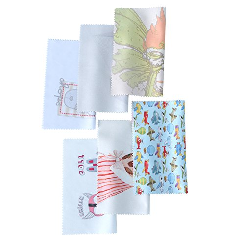 Toyo Pattern - Microfiber Cleaning Cloths by Toyo World-6 Pieces, Different Printed Patterns-Ideal for Cleaning Glasses, Sunglasses, Camera Lenses, iPad, Phones,and Other Delicate Surfaces