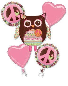 Girl Birthday OWL Balloon Bouquet w/Ribbons (Owl Party Balloons)