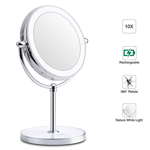 World Backyard Lighted Makeup Mirror, Double-Sided LED Vanity Mirror with Lights, 1X 10X Magnification with Built-in Li-on Battery for Beauty Cosmetic Applying, Rechargeable & Wireless. ()