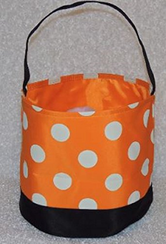 Web Spinner Costume Witch (Halloween Candy Bag Trick or Treat Bags - Reusable durable handled bag design - Dots, Stripes, Skulls, Bats, Canvas and Bucket Basket by Jolly Jon (Orange Bag, White Dots, Black)
