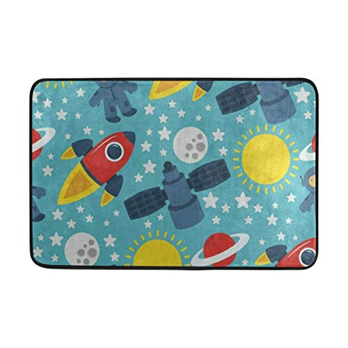 Ladninag BathMat Cartoon Space Solar System Doormat Indoor Outdoor Entrance Floor Welcome Mats Bathroom Rug