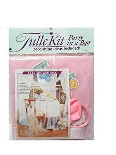 Tulle Kit Party in a Bag Baby Shower Pack - Dark Pink -