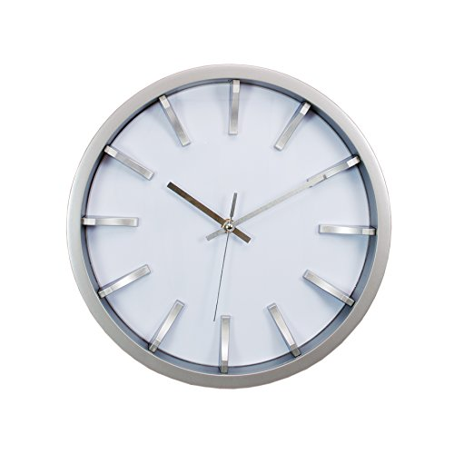 Kiera Grace Watch Wall Clock, 12-Inch, 2-Inch Deep, Silver with White Dial