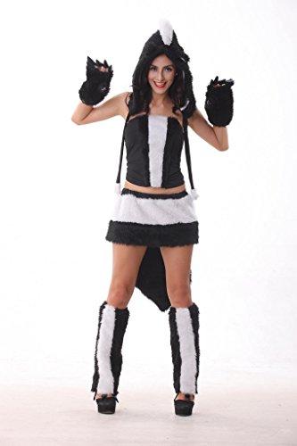 MV Women Halloween Plush Cat Girl Big Tail Wolf Make-up Dress Performance Dress Clothing