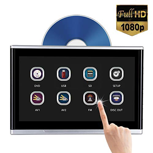 10.1″ Headrest DVD Player Touch Screen 1080P for car Back seat Entertainment, Region Free DVD, AV in/Out, IR/FM Transmitter, Support DVD/USB/TF/Game