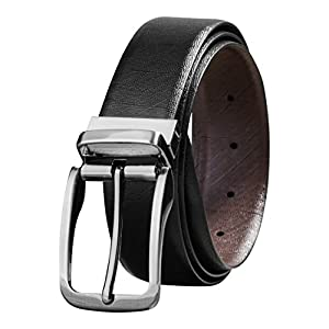 Savile Row Men's Top Grain Leather Belt Fashion Design Reversible Buckle (34)