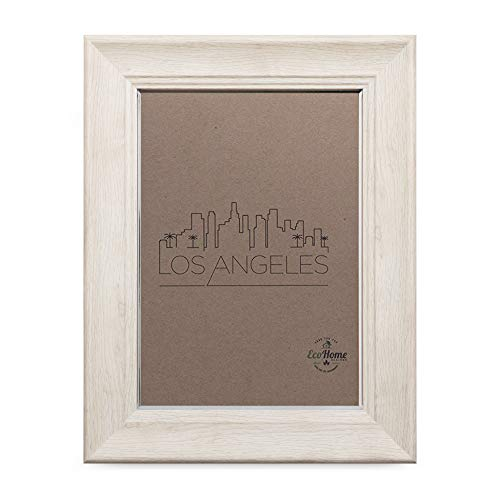 4x6 Picture Frame Barnwood Finish - Mount or Desktop Display, White Color - Frames by EcoHome
