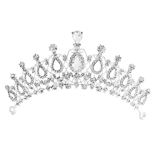 [Santfe Wedding Birdal Bridesmaid Pageant Prom Party Royal Queen Princess Rhinestone Crystal Crown Tiara] (Crown Royal Girl Costume)