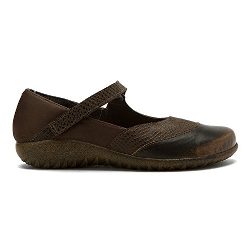 NAOT Womens LUGA Leather, Suede, Cork, Latex, Mary Janes Brown Croc, Brown Shimmer, Volcanic Brown