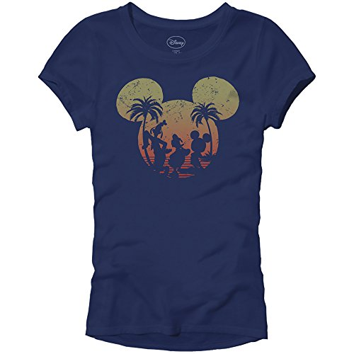 (Disney Mickey Mouse Sunset Silhouette Disneyland World Tee Funny Humor Women's Juniors Slim Fit Graphic T-Shirt Apparel (Navy, Small))