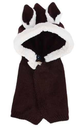 [Simplicity Baby Crochet Knit Hat Cape, Brown Rabbit Ear] (Brown Rabbit Ears Costumes)