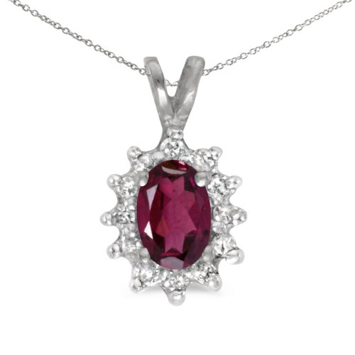 0.49 Ct Princess Shape - 0.49 Carat (ctw) 10k White Gold Oval Red Rhodolite-Garnet and Diamond Women's Solitaire with Halo Pendant with 18