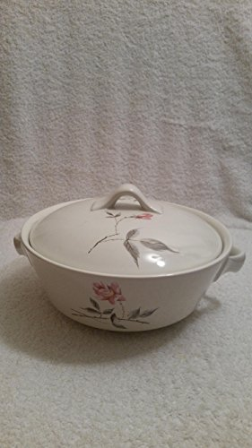 Vintage Universal Potteries Ballerina Rose Corsage Handled Casserole Dish with Lid