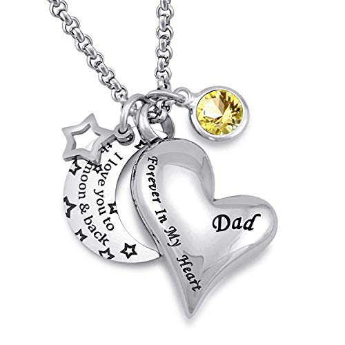 YOUFENG Urn Necklaces for Ashes I Love You to The Moon and Back for Dad Cremation Urn Locket Birthstone Jewelry (November urn Necklace) ()