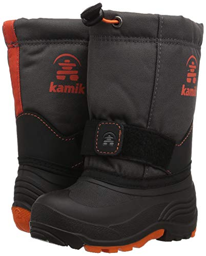 Pictures of Kamik Boys' ROCKETW Snow Boot, Charcoal/Flame, 8 Wide US Toddler 4