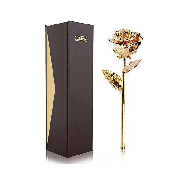 ZJchao 24K Gold Plated Real Rose Flower 11 Inches Long Stem Everlasting Dipped Rose Gift for Her Birthday, Anniversary Gifts, Valentines Gifts,Wedding Anniversary Gift
