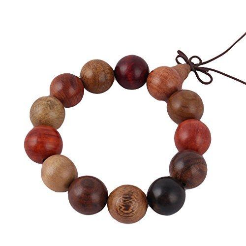 DealMux Wood Unisex Round Stretchy Buddha Bead Prayer Bangle Bracelet 18mm Dia Colorful