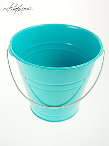 rackcrafts.com Large / XL Metal Sand Water Paint Pails Buckets Party Favor Wedding Baby Shower (XL - Turquoise)