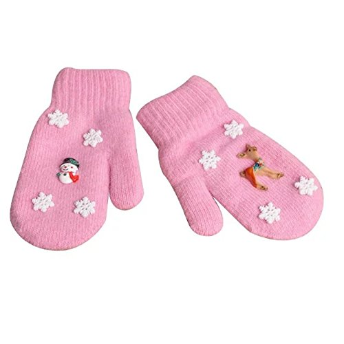 COFFLED Kids Christmas Snowman&Deer and Snowflakes Cute Warm Mittens for Girls and Boys; Best New Years' Gift for Toddler Children in The cold Winter Angora Gloves Pack of 2