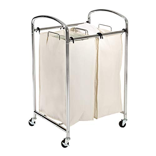 Seville Classics Mobile Double Bag Compact Laundry Hamper Sorter Cart