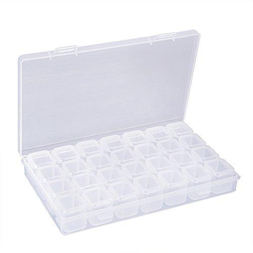 OPount 28 Grids Diamond Embroidery Box Diamond Painting Accessory Storage Box for DIY Art Craft