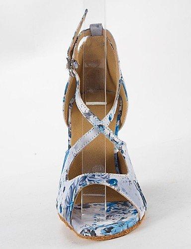ShangYi buckie Tanzschuhe latin Frauen Sandalen Satin Pfennigabsatz buckie ShangYi Tanzschuhe Light Blau 6360c1