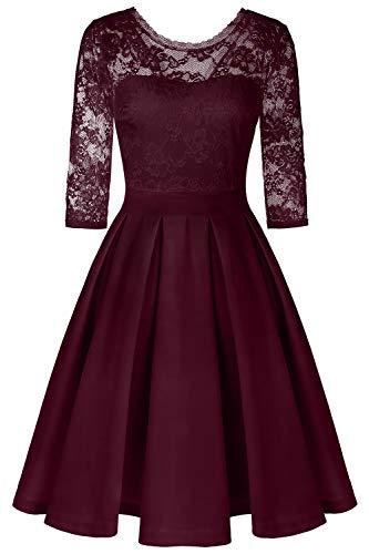 BBX Lephsnt Dress Women's Vintage Floral Lace Cocktail Party Dress Wine Red L