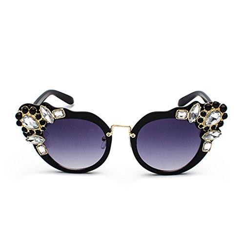 Cat Diseño con Sunglasses Eye Cenizas Oversized Frame diamante elegante Negro Retro Women Inlefen wq0IRSw