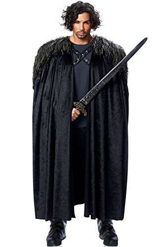 Costume Culture Men's Big Medieval Cape Adult Deluxe, Black, Standard