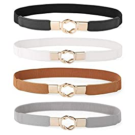 Women Skinny Belt for Dresses Retro Stretch Ladies Waist Belt Plus Size Set of 4