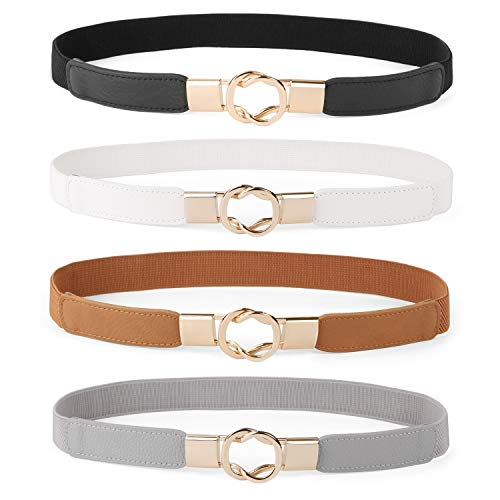 Women Skinny Belt for Dresses Retro Stretch Ladies Waist Belt Plus Size Set of 4(Fits Waist 26-32 Inches,0-Black+Brown+White+Gray)