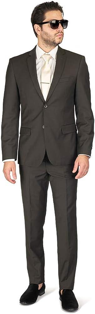 Slim Fit Men Suit Olive Green 2 Button Notch Lapel AZAR 4030-16