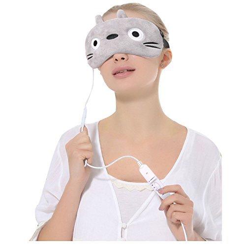 CORALTEA Heated Eye Mask Electric Heating Hot Steam Compress Aromatherapy Cartoon Animal Eye Cover[USB Charging Head](Totoro)