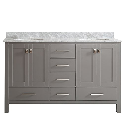Vinnova 723060-GR-CA-NM Gela 60' Double Vanity in Grey with Carrera White Marble Top without Mirror