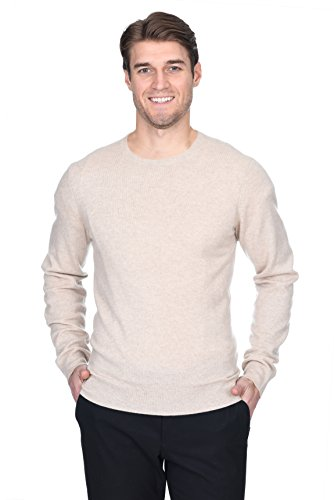 (State Fusio Men's Cashmere Wool Long Sleeve Pullover Crew Neck Sweater Premium Quality Beige)