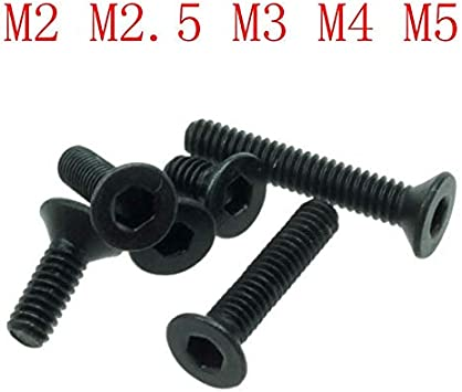 M2 Black 10.9 Grade Alloy Steel Hex Socket Countersunk Flat Head Screw Bolt