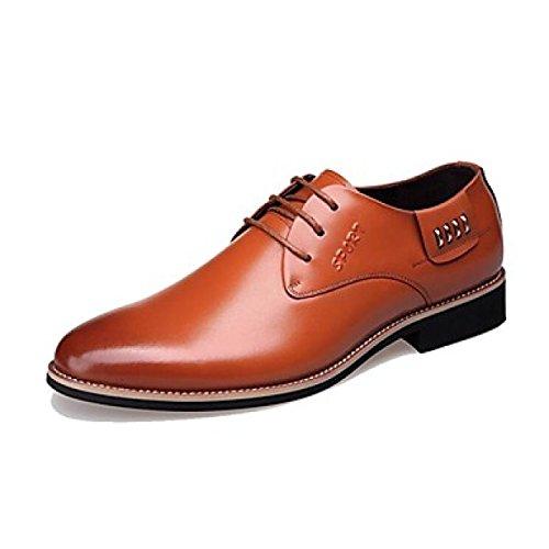 Herren Halbschuhe Herren Kleid Fashion Style Echtes Leder Büro Karriere Casual Schwarz Orange Orange