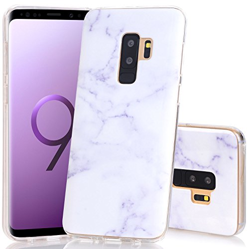 - Galaxy S9 Plus Case, White Marble Design BAISRKE Slim Flexible Soft Silicone Bumper Shockproof Gel Clear TPU Rubber Glossy Skin Cover Case for Samsung Galaxy S9+ Plus