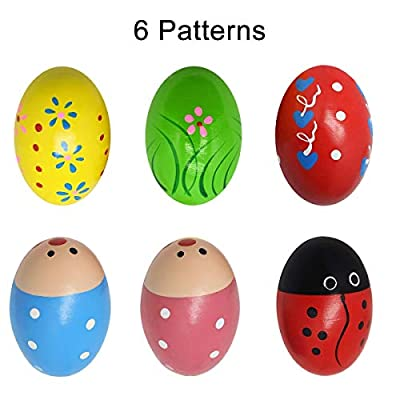 Kabi 12pcs Shaker Eggs Wooden Egg Shakers Percussion Musical Maracas Egg Toys for Kids Toddlers -6 Patterns