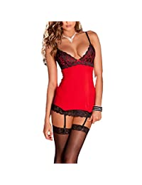 Fashion Story Women Chemise and G-string Garter Lingerie Babydoll Dress Lace