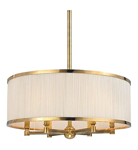 Aged Brass Hastings 6 Light Drum Chandelier with Pleated Silk Shade ()
