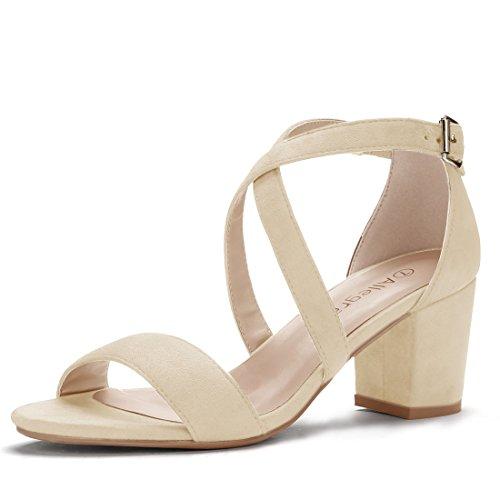 Allegra K Women's Straps Mid Heel Ankle Strap Beige Sandals - 9 M US