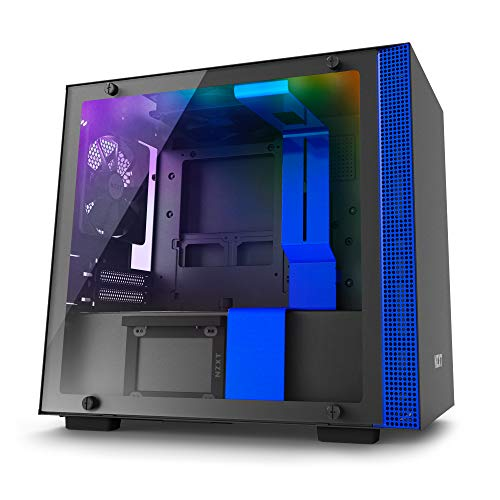 NZXT H200i – Mini-ITX PC Gaming Case – RGB Lighting and Fan Control – CAM-Powered Smart Device – Tempered Glass Panel – Enhanced Cable Management System – Water-Cooling Ready – Black/Blue