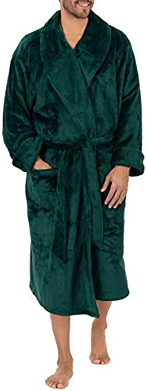 CHAPS Męskie Twill Stripe Comfort Soft Robe Bademantel: Odzież